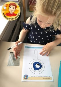 Look in the mirror and draw your eye, eye theme, kindergarten expert