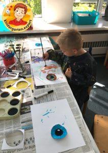 Making an eye in kindergarten 2, eye theme, kindergarten expert g