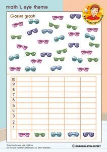 Math 1, eye theme, kindergarten expert, free printable