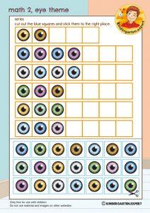 Math 2, eye theme, kindergarten expert, free printable