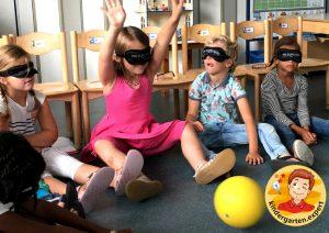 Rolling a ball blindfolded 1, eye theme, kindergarten expert