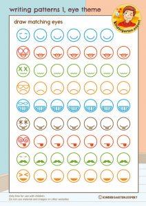 Writing patterns 1, eye theme, kindergarten expert, free printable