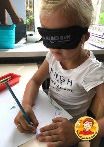 Drawing blindfolded to experience blindness 3, eye theme, kindergarten expert