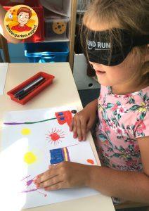 Drawing blindfolded to experience blindness 4, eye theme, kindergarten expert