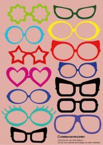 Glasses, free printable, eye theme, kindergarten expert