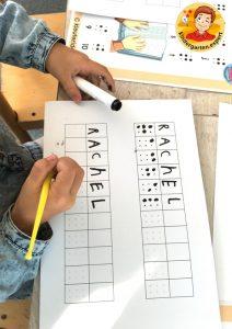 Making your name in braille 1, eye theme, kindergarten expert