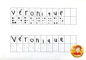 Making your name in braille 3, eye theme, kindergarten expert