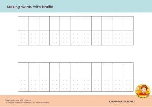 Making your name in braille, eye theme, kindergarten expert