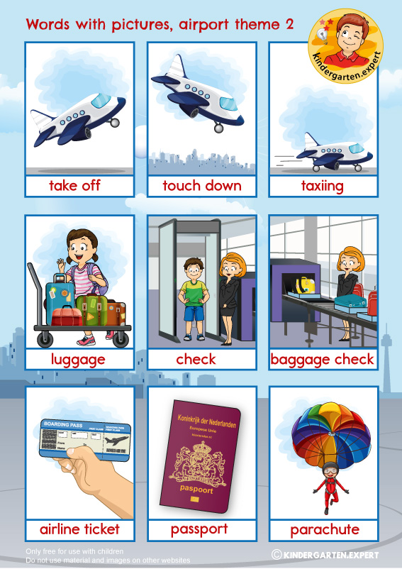 Airport words with pictures 2, airport theme, kindergarten expert, free printable