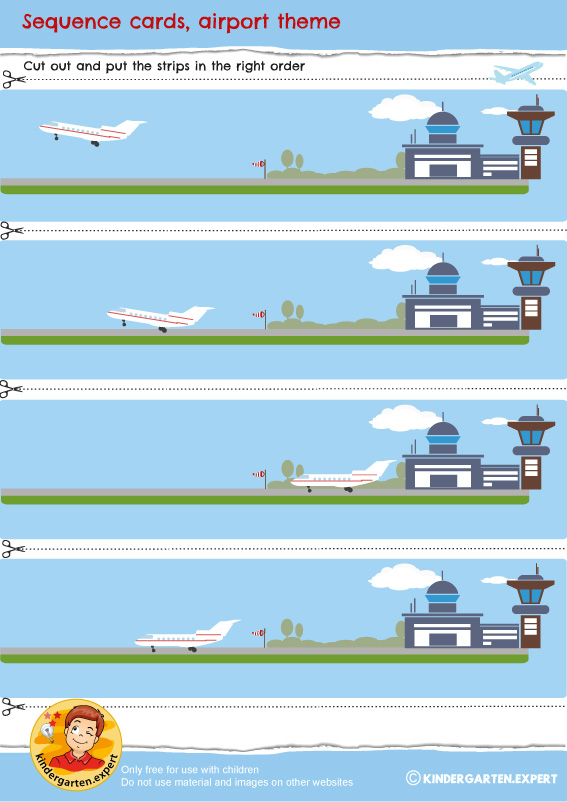Sequence cards, airport theme, kindergarten expert, free printable