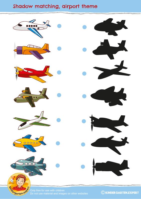 Shadow matching, airport theme, kindergarten expert, free printable