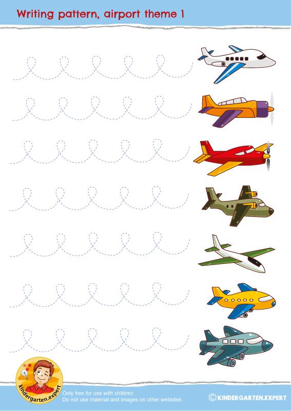 Writing pattern 1, airport theme, kindergarten expert, free printable