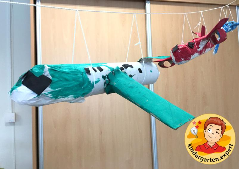Airplane with engines craft, airport theme, kindergarten expert 2