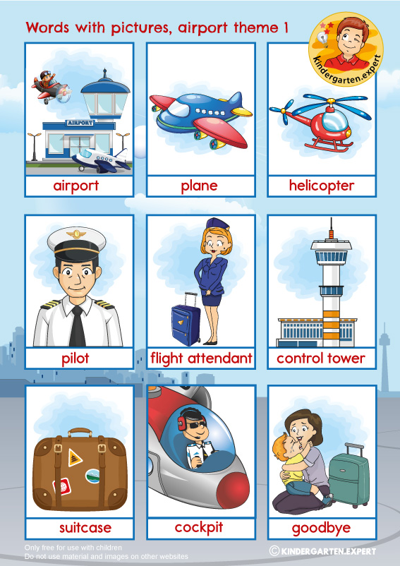 Airport words with pictures 1, airport theme, kindergarten expert, free printable