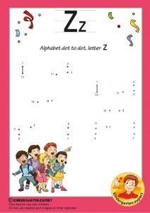Alphabet dot to dot letter Z, kindergarten expert, free printable