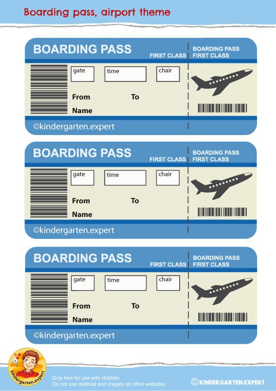 Boarding pass, airport theme, free printable, kindergarten expert  6