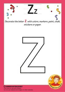 Decorate the letter z with colors, markers, paint, chalk,, kindergarten expert, free printable