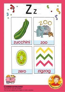 Early Childhood Sight Words, letter Z, for kindergarten, kindergarten expert, free printable