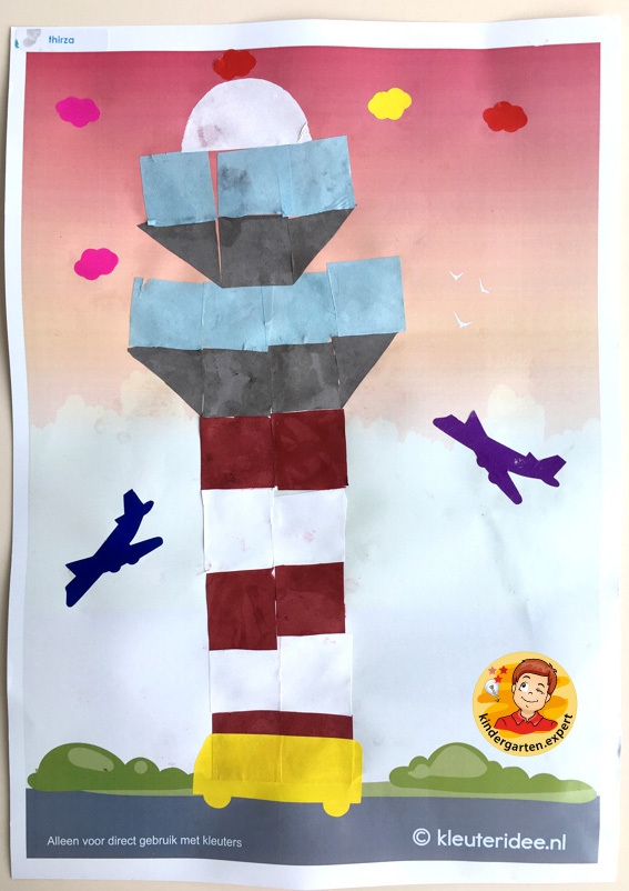 Making a control tower with 16 squares, airport theme, kindergarten expert 2