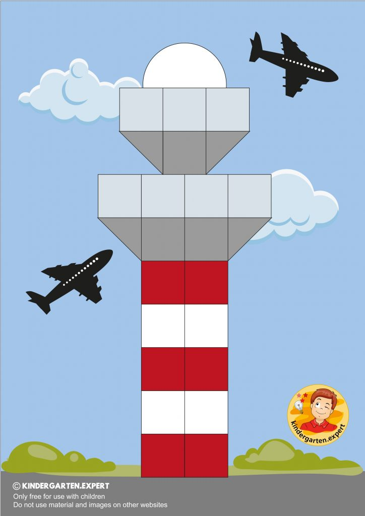 Making a control tower with 16 squares, airport theme, kindergarten expert 7