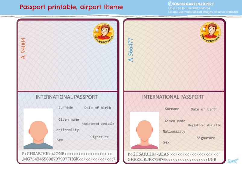 Passport craft, airport theme, free printable, kindergarten expert 5