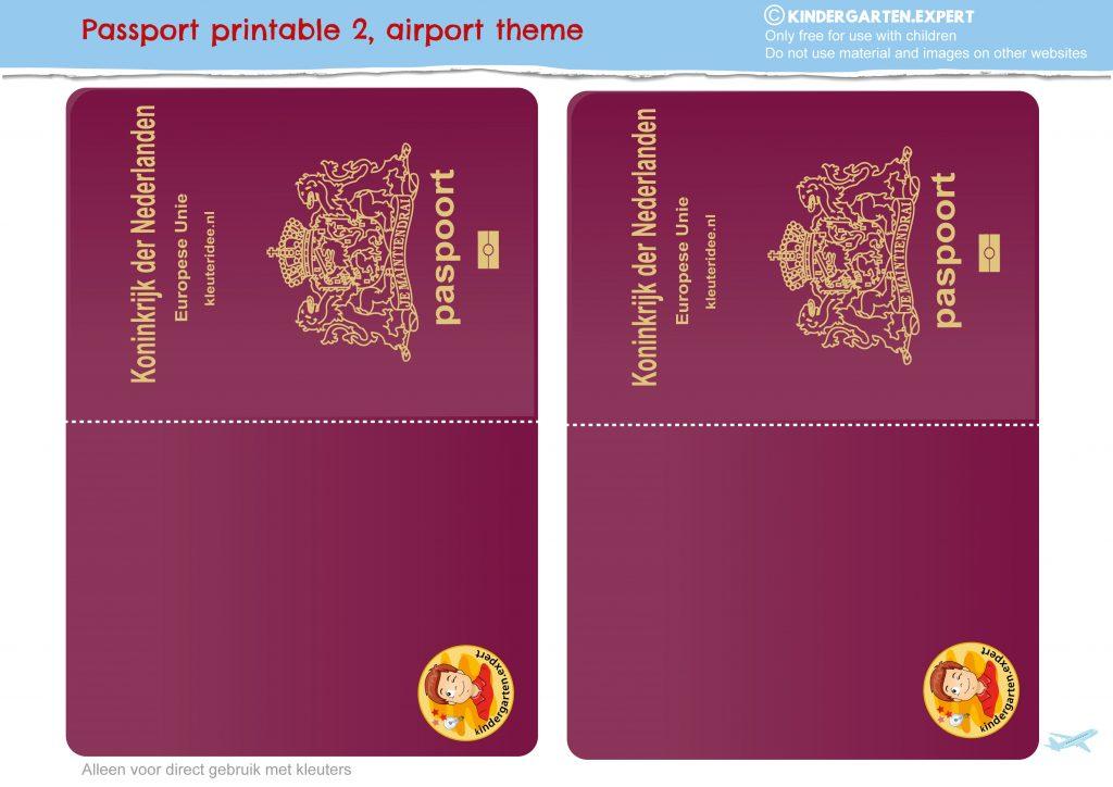 Passport craft, airport theme, free printable, kindergarten expert 6
