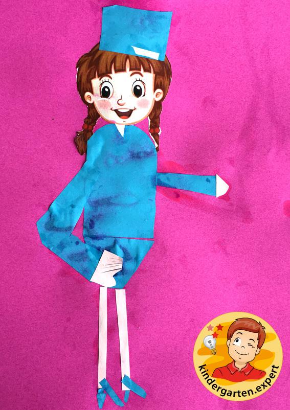 Stewardess craft, airport theme, kindergarten expert 1