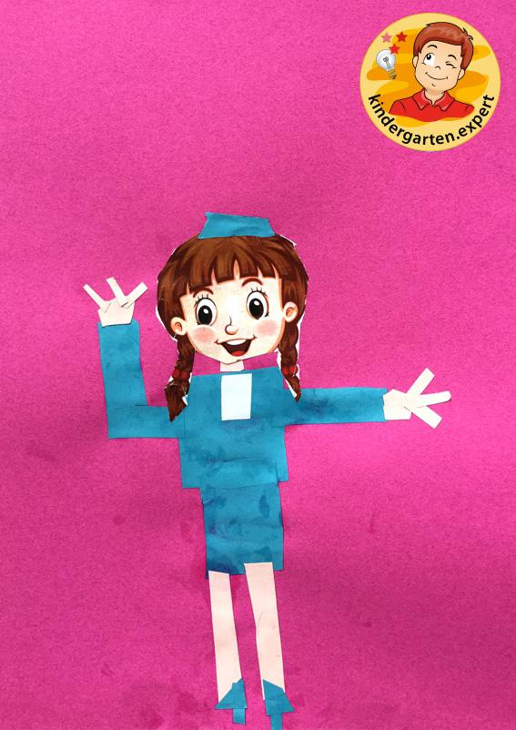 Stewardess craft, airport theme, kindergarten expert 3