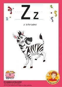 Z is for zebra, kindergarten expert, free printable