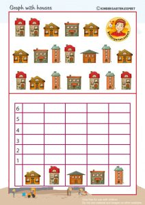 Graph with houses, 'we're building a house' theme, kindergarten expert, free printable