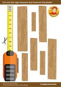 Measuring planks, 'we're building a house' theme, kindergarten expert, free printable