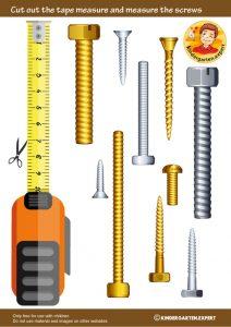 Measuring screws, 'we're building a house' theme, kindergarten expert, free printable