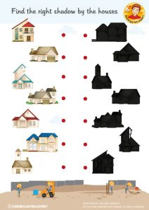 Searching shadows, 'we're building a house' theme, kindergarten expert, free printable