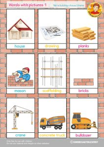Words with pictures 1, 'we're building a house' theme, kindergarten expert, free printable