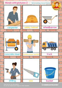 Words with pictures 2, 'we're building a house' theme, kindergarten expert, free printable