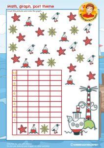 Making a graph, math, port theme, kindergarten expert, free printable