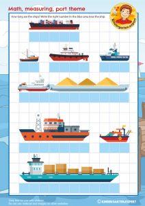 Measuring ships, math, port theme, kindergarten expert, free printable