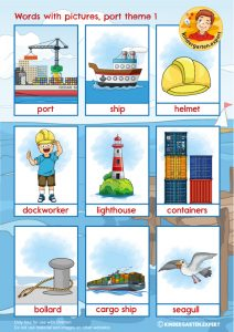 Port words with pictures 1, port theme, kindergarten expert, free printable