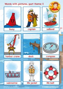 Port words with pictures 2, port theme, kindergarten expert, free printable