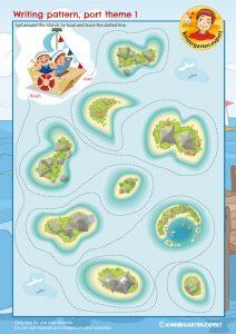 Writing pattern 1, port theme, kindergarten expert, free printable