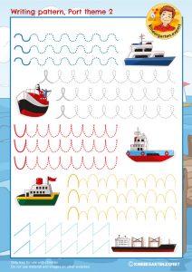 Writing pattern 2, port theme, kindergarten expert, free printable